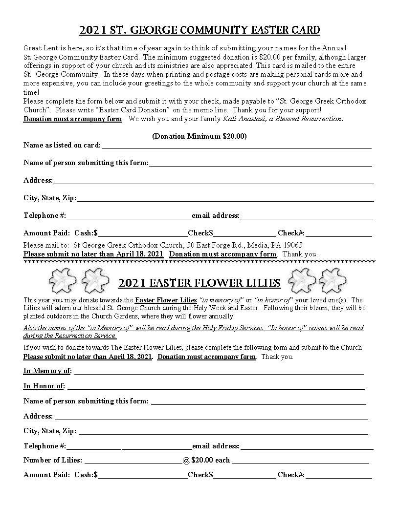 Easter Lilie & Card Order Form 2021